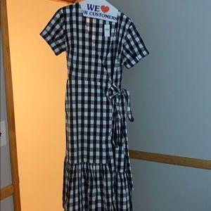 NWT gap midi navy and blue checkered dress